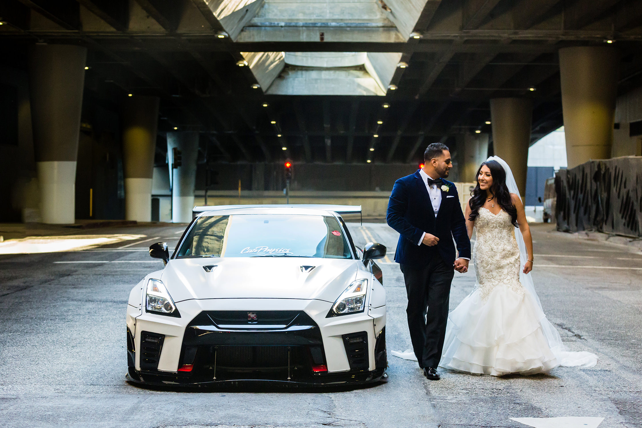 bycphotography downtown los angeles dtla wedding portraits with skyline gtr