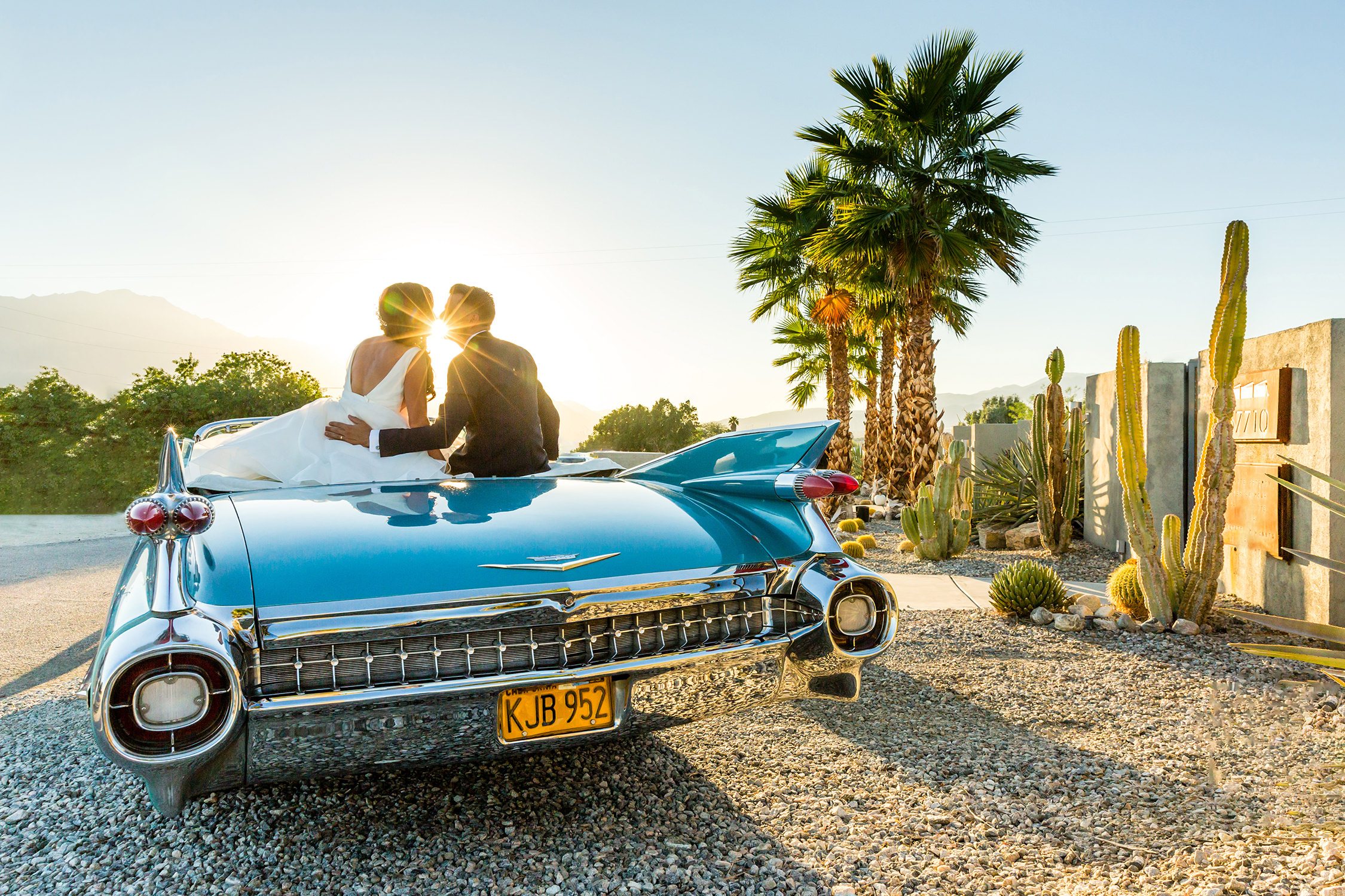 bycphotography the lautner compound palm springs wedding portrait with car
