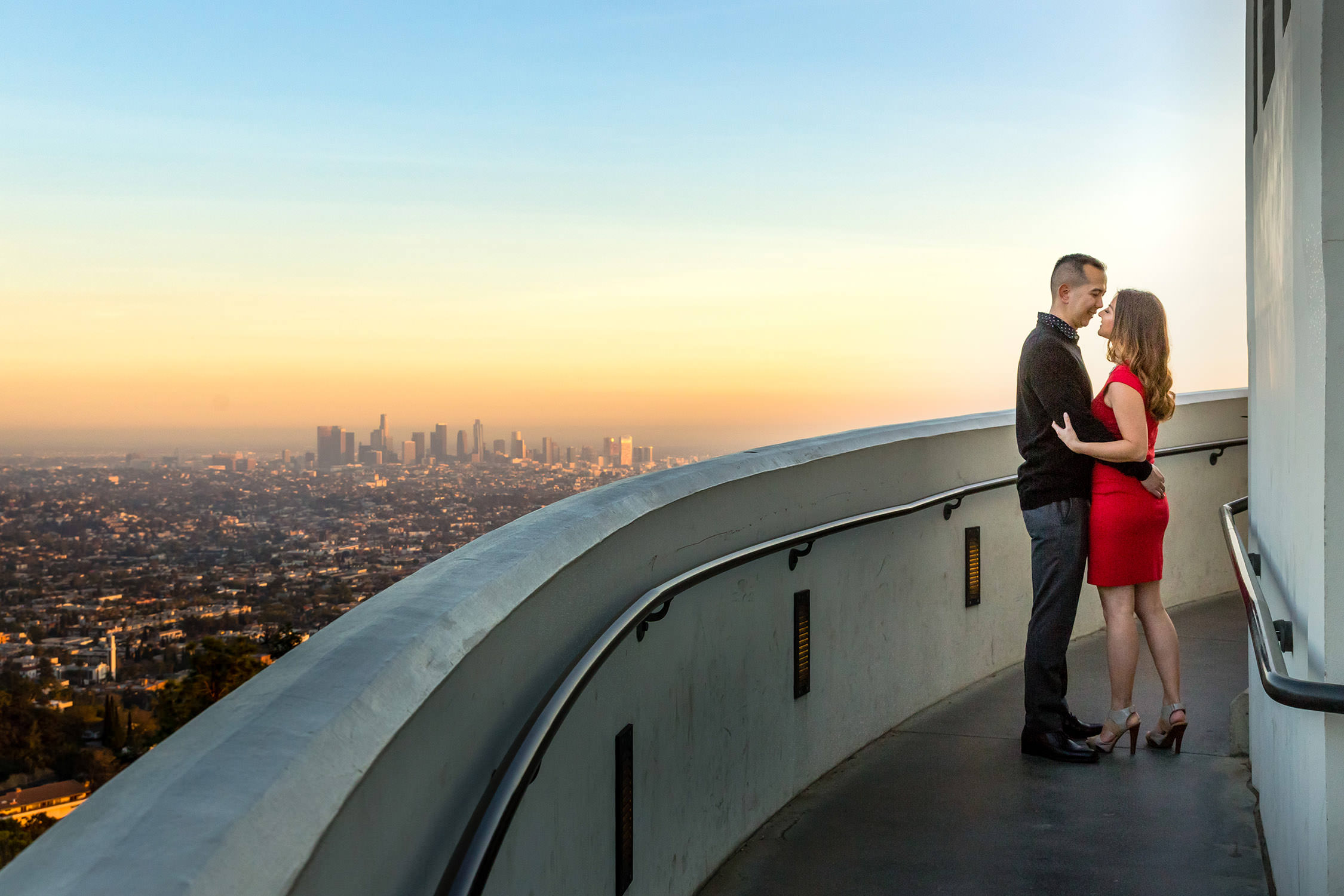 Engagement Session at Griffith Observatory in Los Angeles, CA, LA Skyline