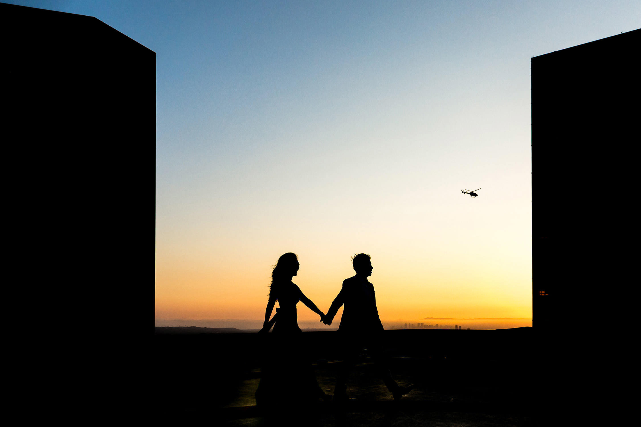 Downtown Los Angeles Helicopter Pad Engagement Session
