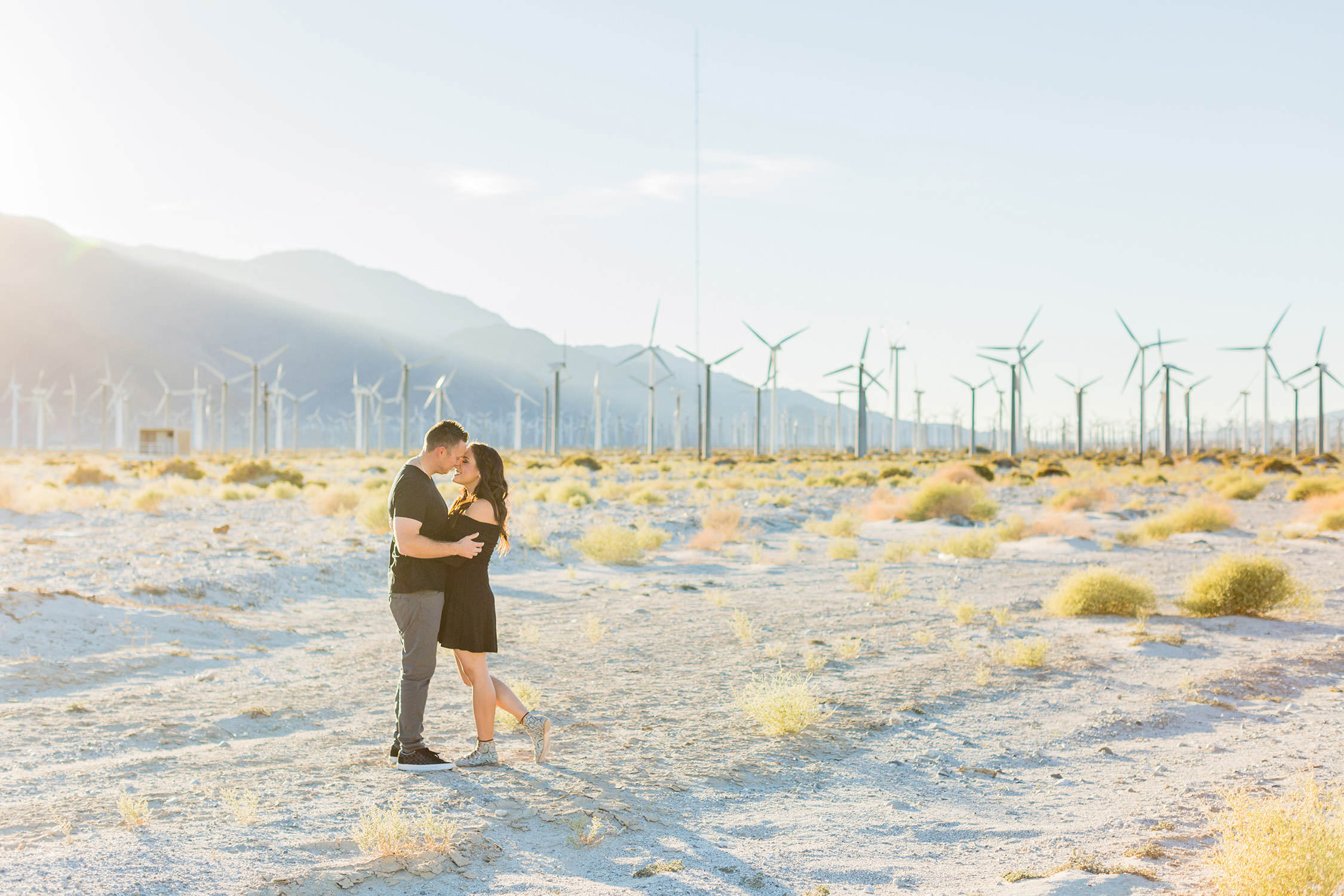 Engagement session at the windmills in palm springs, southern california