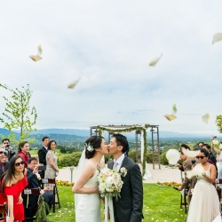 2nd kiss of being married at Boulder Ridge Golf Course