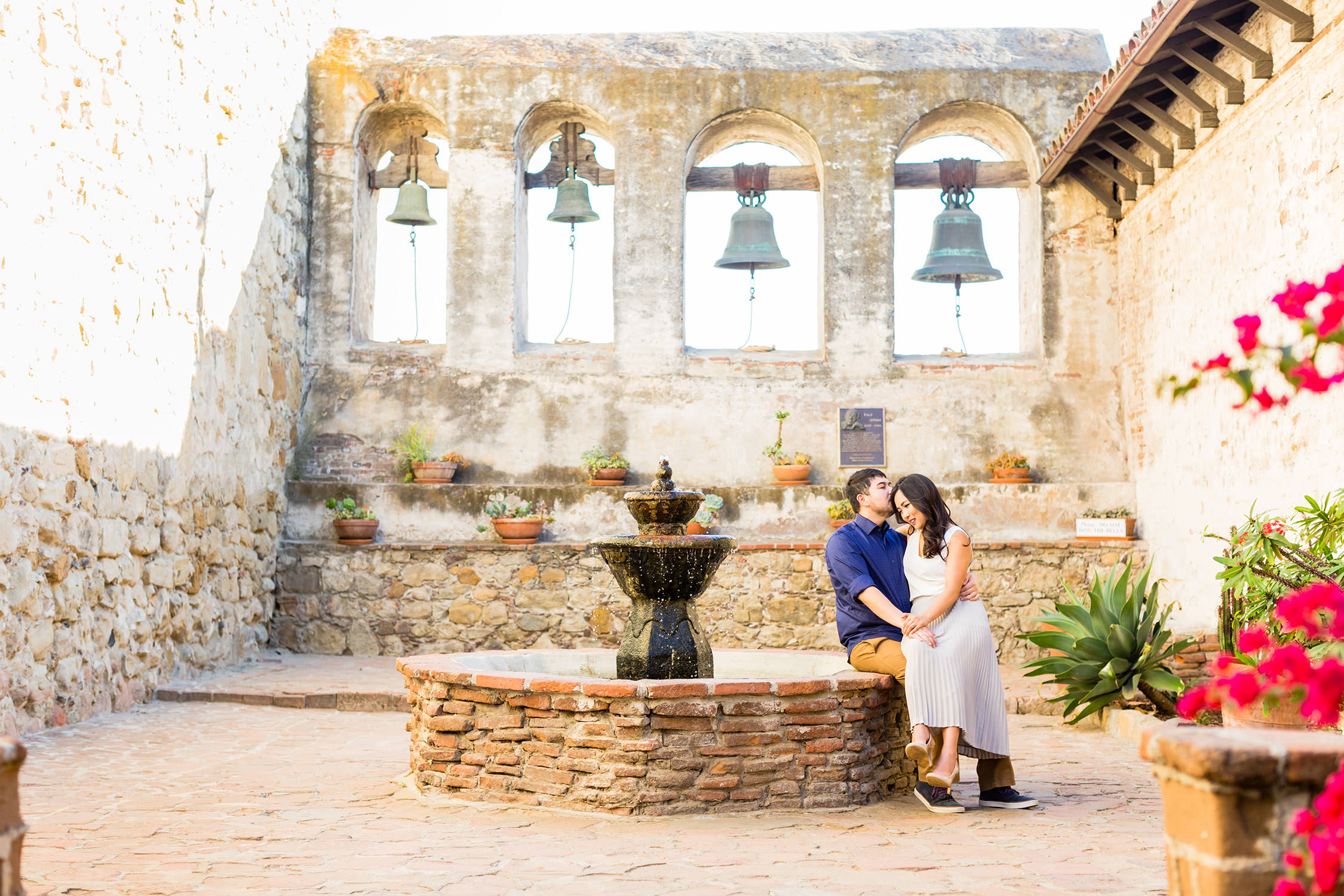 Engagement session at The Mission in San Juan Capistrano, southern california