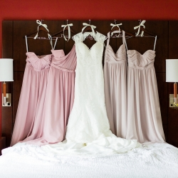 Bride and bridemaids' dressed lined up at the hotel