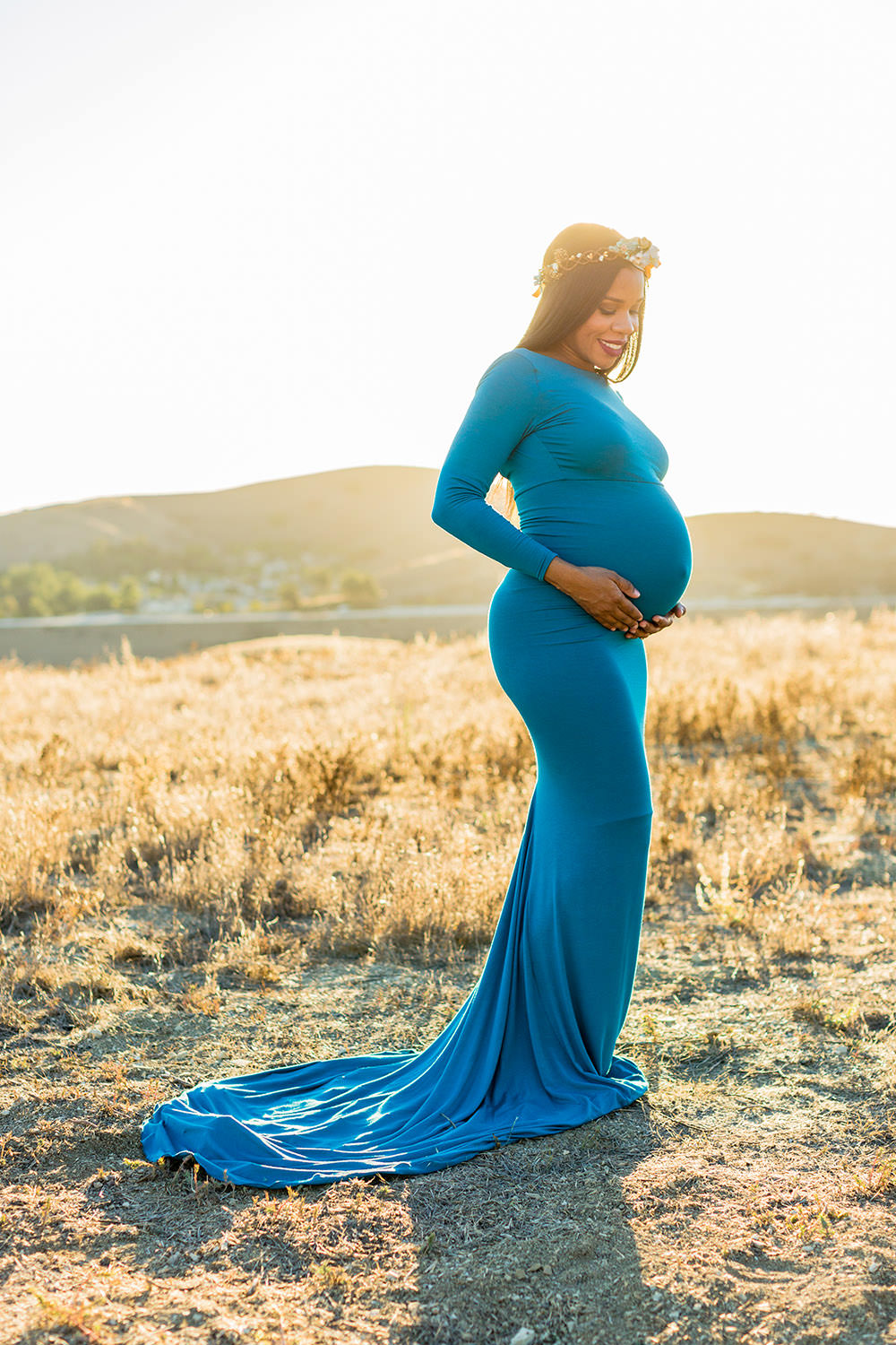 Maternity Session Teal dress at trailhead in Chino Hills, CA