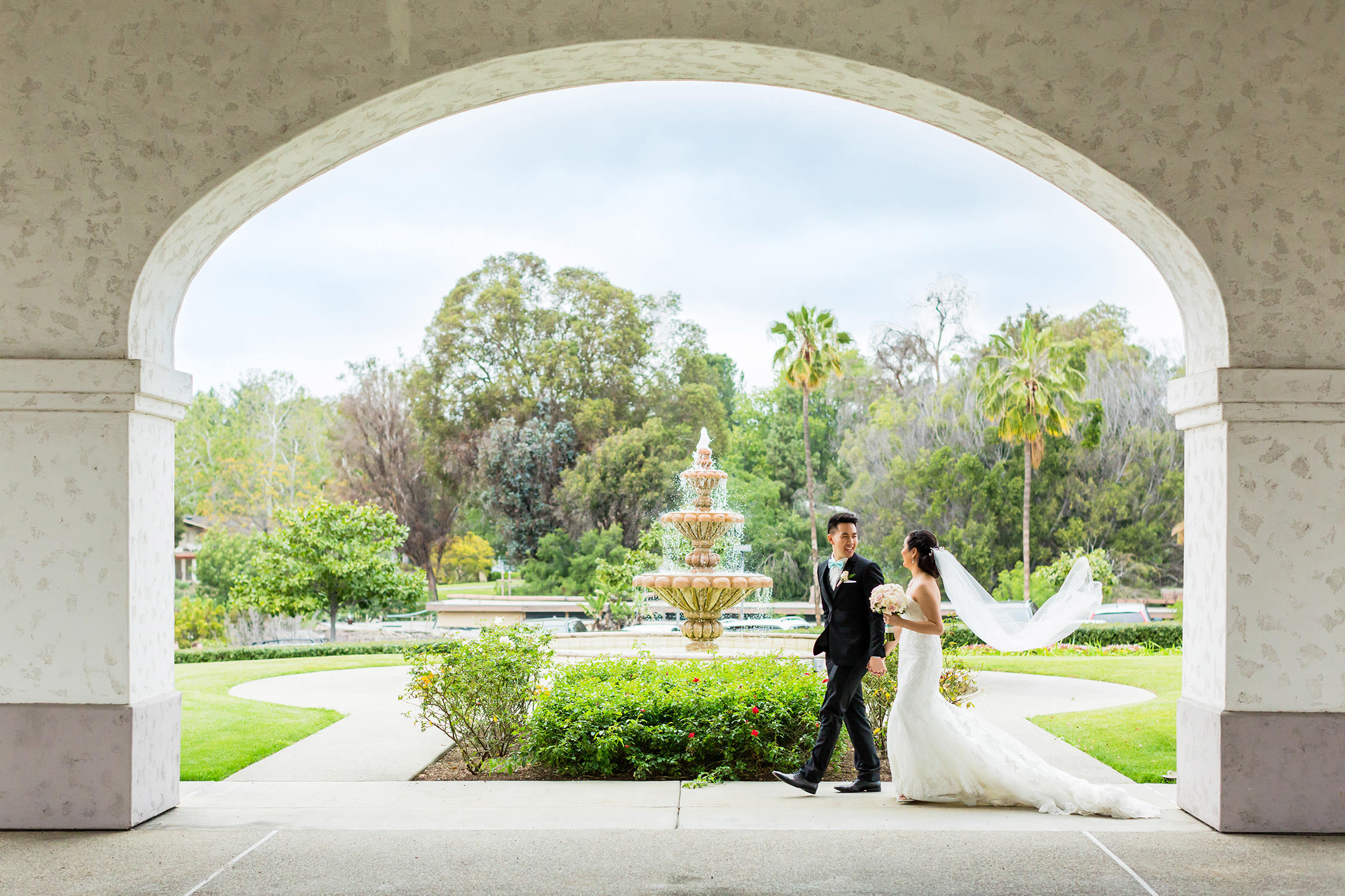 Bride and groom couples portrait at Los Coyotes Country Club in Fullerton, CA