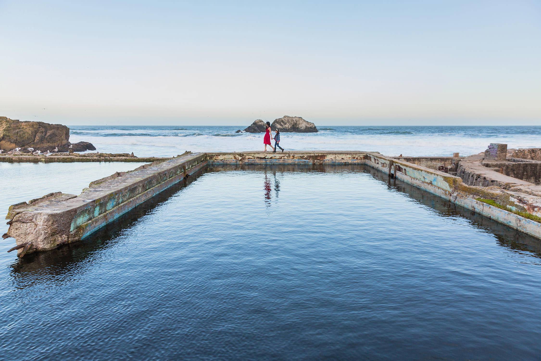 Portrait session at Sutro Baths in San Francisco, California